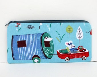 Long Zippered Pencil Pouch, Mouse Camp in a Tin Can Trailer