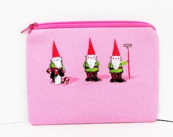 Gnome Trio, Small Zipper Pouch, Heather Ross Fabric