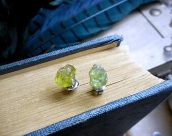 Pea Pod. Earrings  Petite Green Peridot August Birthstone Raw Rough Specimens & titanium post earrings. Ear studs. simple delicate romantic