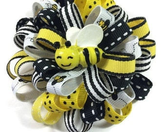 "Honey Bee 3.5"" Hair Bow - Handmade No Slip BumbleBee Hair Bow - Black, Yellow Loopy Bee Hair Bow - No Slip Hair Bow Clip - Made To Order"