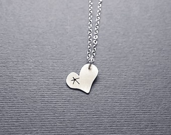 "Small Heart Star Necklace Sterling Silver 17"" Chain Fairy Tale Storybook Wishing on A Star Jewelry Simple Love Symbol Quirky Charm"