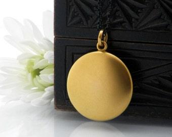 Antique Locket | Matte Gold Victorian Locket Necklace | W&H Co Vintage Locket | Round Bloomed Gold Photo Locket - 20 Inch Long Black Chain