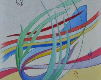 "Art Oil Painting Original Abstract Musical Bird Modern Quebec Canada By Jacques Audet  "" Improvisation "" 14"" x 18"""