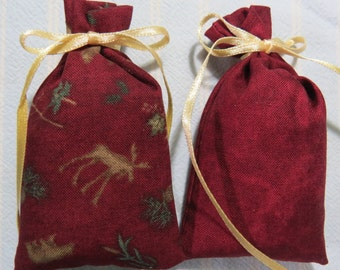 "Burgundy 3""X2"" Sachet-'Dreamsicle' Fragrance-Woodland Masculine Father's Day Sachet-Holiday Sachet-Ivory Ribbon-Cindy's Loft-535"