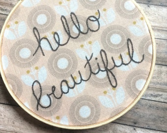 Hello Beautiful Embroidery Wall Decor