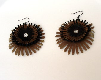 Brown Leather Flower Earrings, Shabby Chic, Eco Friendly, Recycled Women Earrings