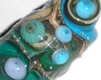 Dreaded Sea Swirls  Lampwork Glass Dread Bead 10mm hole for Dreadlocks Beatlebaby Blue sparkle aqua teal wave polka dot sea ocean SRA