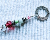 Metal Stamped, needlepoint phrases,  Lampwork beads, Keys, Scissors, Zipper Pull, Fob, Silver Hill Tribe beads, brass, copper metal