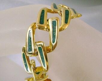 SALE Vintage Gold Bracelet.  Green.  Glitter.
