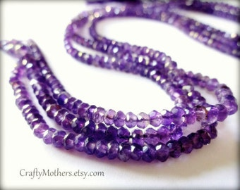27% SALE! (Code: 27OFF20) AAA Brazilian Medium Purple AMETHYST Gemstone Faceted Rondelles, 3.5mm - 1/4 Strand (3.5 inches long)
