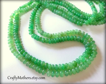 29% SALE! (Code: FROSTY) Light Green CHRYSOPRASE Smooth Rondelles, 2 inch strand, 3.6-3.9mm diameter, luxe rare natural