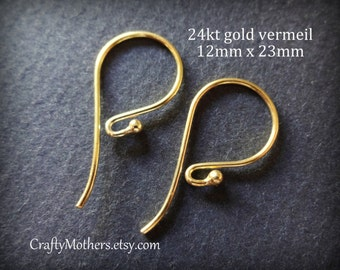 Use TAKE10 for 10% off! FIVE Pairs Bali 24kt Gold Vermeil Ball Ear Wires, 23mm x 12mm, 20 gauge (10 pieces), Artisan-made jewelry supplies
