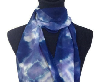 Pink and Blue Lavender Hand Dyed Silk Scarf 11x60 inches - 27.94x152.4 cm