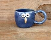 Blue Bird Mug. Springtime Bluebirds. Googly Eye Bird Face Coffee Cup. Unique Pottery Gift. Bird Lover Teacup in Blue. Made in America