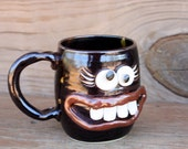 Womans Coffee Cup. Mugs for Her. Funny Stressed Out Face Mug in Black. Ceramic Clay Pottery Dishes. Unique Coffee Lovers Mom Gift Ideas.