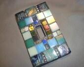MOSAIC LIGHT SWITCH Plate, Single Switch, Wall Plate, Wall Art, Blue, Green, Teal, Iridescent White