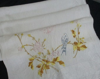 Vintage Antique Linen Towel Embroidered