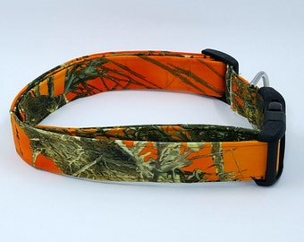 Bright Blaze Orange MC2 True Timber Woods Hunting Camouflage Camo Dog Collar
