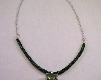 FREE SHIPPING.  Frern Green Quarts.  (13cts) Sterling Silver Pendant hangs from a necklace with 4 inches of Crome Diopside and silver chain.
