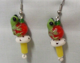 Toadstool Froggy Earrings
