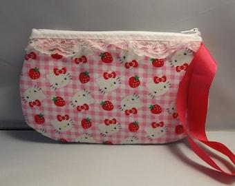 Hello Kitty  Sanrio Wristlet / Pouch -- Handmade  OOAK   Sanrio