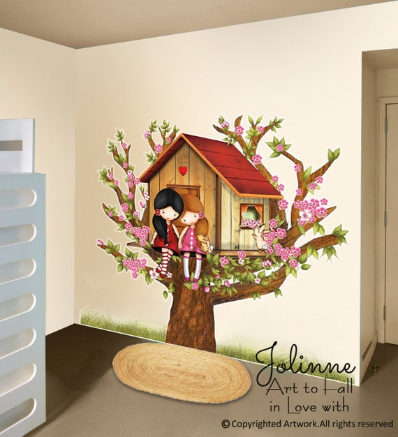 Girls In Tree House Wall Decal Sisters Room Wall Decor Vinyl