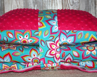 Kinder Nap Mat Cover - Brilliant Blooms with Dark Pink Minky - Ready To Ship