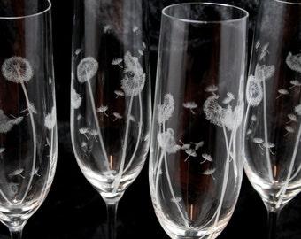 Set of Hand Engraved Dandelion Champagne Flutes, Crystal Glass, Lead Free Crystal, Celebration Flutes
