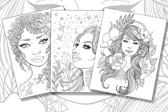 girls with tattoos pack adult coloring pages magnolias sunflowers roses flowers instant download pdf print your own coloring book - Coloring Books For Girls