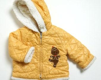 REDUCED Vintage 1960s Childs Size 12M Wonderalls Coat / Butterscotch Yellow Quilted Nylon, Fleece Trim, Gingerbread Man Applique