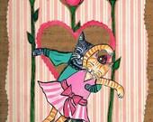 Mixed Media Original Acrylic Painting, Ballet Kitties, Cat Art, SFA, nursery decor, Prince Charming