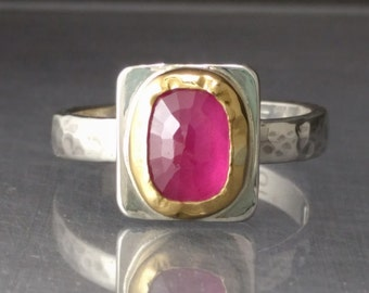 Handmade Ruby Ring 22k Gold and Sterling Silver - Right Hand Ring