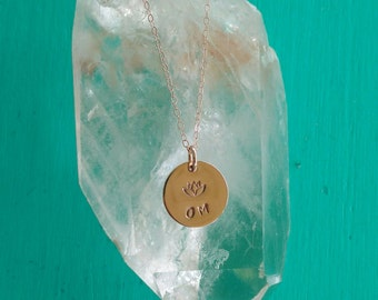 PURE LOVE Om Yoga Jewelry with Lotus, OM Necklace in Rose Gold-Filled, Lotus Flower Necklace, Yoga Jewelry (#046)