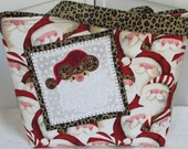 Whimsical Santa Claus Large Holiday Tote Bag Santa Gone Wild Purse Ho Ho Ho Shoulder bag Ready to Ship