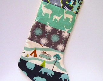 Quilted Christmas Stocking-Rustic Organic Birch Fabric n Art Gallery- Woodland Christmas Holidays-Bear Deer Elk Mint Charcoal Grey Gray