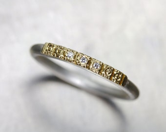 Delicate Women's Wedding Band 14K Yellow Gold Beaded Detail Tiny Diamonds Silver Vintage Inspired Boho Bridal Ring 3 Sparkle - Golden Path