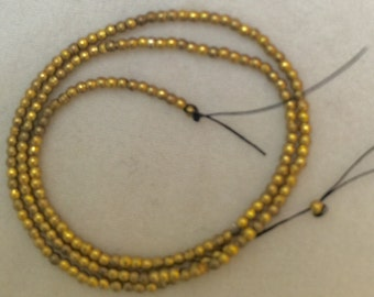 Antique French Brass round beads metal perfectly round ball  10 inch strand  22 BPI rare style