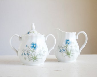 Cream and Sugar Set, Cornflowers, Bachelors Buttons, Marked ZOE 3797 Japan, Very Sweet, Blue and White