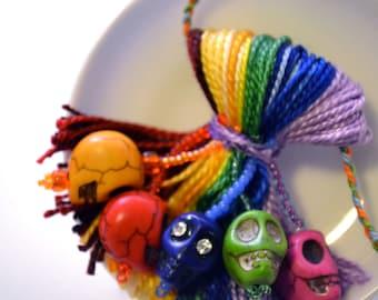 Rainbow Beaded Sugar Skull Tassel: Day of the Dead and Halloween Decor