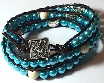Beaded Leather Wrap Bracelet, Three Wrap Beaded Leather Bracelet, Women's Boho wrap bracelet, bohemian wrap bracelet cuff