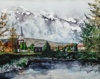 FORT KENT, Maine - Original watercolor Painting, Landscape Painting, Limited PRINTS, Jim Lagasse, original watercolor, Maine Landscape