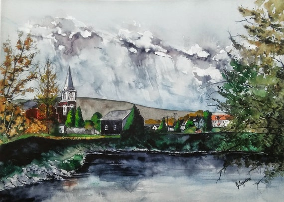 FORT KENT, Maine - Original watercolor Painting, Landscape Painting, Limited PRINTS, Jim Lagasse, original watercolor, Maine Landscape