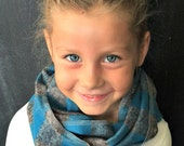 Children's Flannel Scarf in Teal and Gray