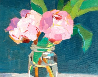 Two pink Peonies painting