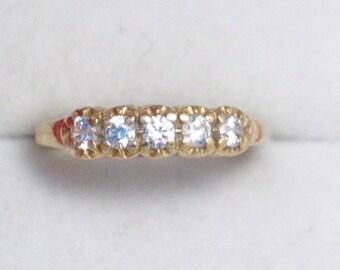 slim narrow size 6 3/4 6.75 14k gold 5 stone stacking ring band cz crystal stone Blingschlingers jewelry adoptions