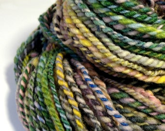 "Handspun Yarn, Hand Dyed Merino ""Confused"" Merino Yarn - 2 Ply, Worsted Weight Yarn, Aran Weight Yarn, Worsted Wool Yarn, Worsted Merino"