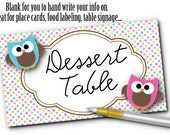 10 Blank Table Cards, Place Cards, Food Label Cards, Table Number Cards, Table Signage, Gender Reveal Party, Baby Shower, Pink, Blue, Owls