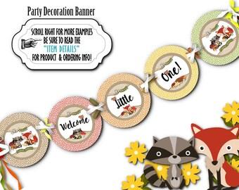 Banner, Bunting, Party Decorations, Baby Woodland Animals, Fox, Raccoon, Squirrel, Baby Shower or Birthday, 1st thru 5th Birthday