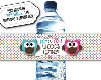 10 Waterproof Peel & Stick Water Bottle Labels, Baby Shower, Baby Gender Reveal Party, Baby Owls, Pink and Blue, Polka Dots