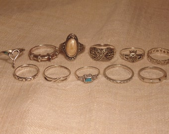 11 Pc Vintage Sterling Ring Lot Sterling Band 925 Ring Womens Ring Womens Band